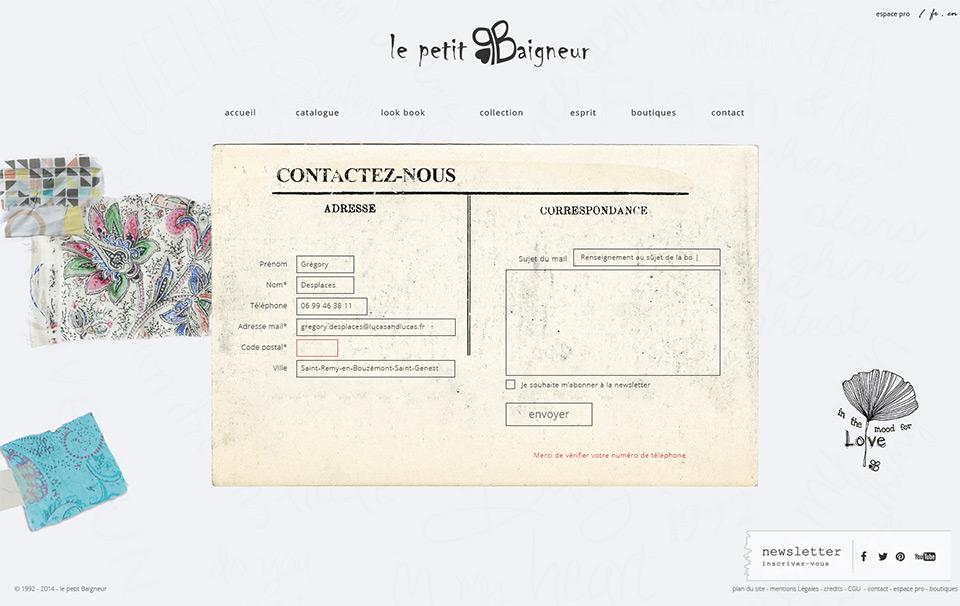 Lucas & Lucas - Création site web Le Petit Baigneur